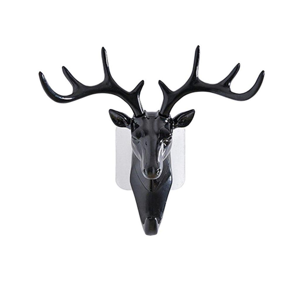 Wall Hanger Hook Ornament DIY Deer Head Self Adhesive Art Reindeer Elk Clothes Bag Storage Hook Wall Mounted Sticky Holder Racks