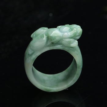 (Certificate) Drop Shipping Natural Light Green AAA Grade Jadeite Jade Ring Finger 3D Carved PIXIU Gift For Men's  Jewelry