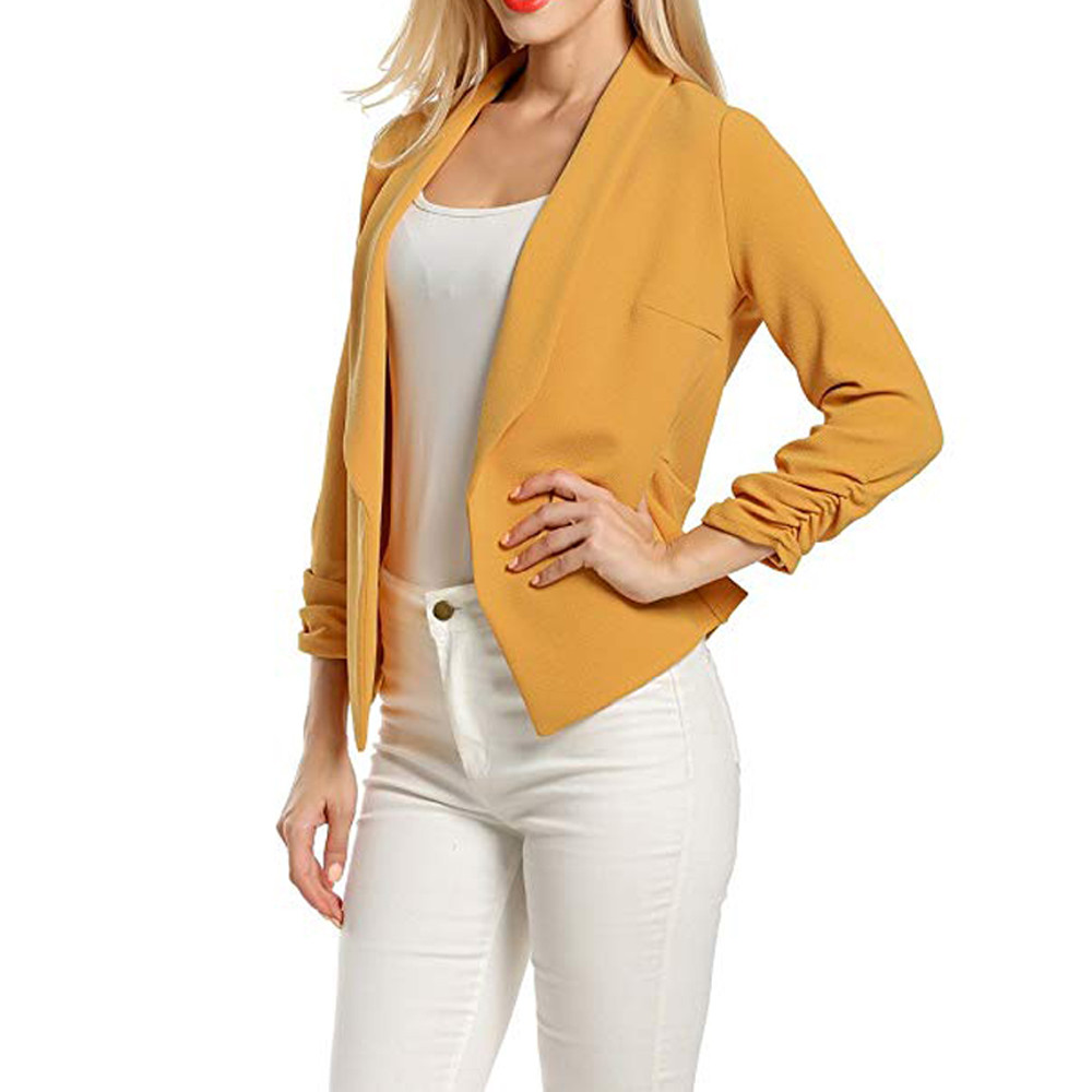 Female Jacket Manteau Femme Hiver Women 3/4 Sleeve Blazer Open Front Jacket One Button Suit Lady Red Coats Office Work Suits7.17
