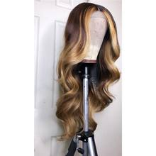180% yoğunluk vurgulamak renk 13*6 dantel ön İnsan saç peruk dalgalı Ombre renk İnsan Remy saç dantel peruk ön-