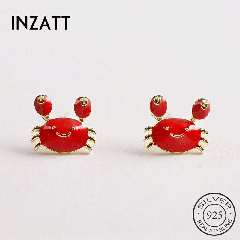 INZATT Real 925 Sterling Silver Red Enamel Crab  Stud Earrings For Fashion Woman Party Cute Fine Jewelry Accessories GIFT