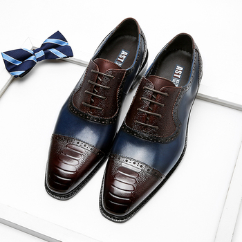 Phenkang Men Genuine Wingtip Leather Oxford Pointed Toe Laces Up Oxfords Dress Brogues Wedding Business Platform Shoes