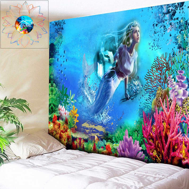 Psychedlic Mermaid Pattern Tapestry Art Room Wall Hanging Throw Tapestry Decor