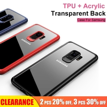 [ Clearance ]For Samsung Galaxy S8 S9 Plus Soft TPU+Acrylic Transparent Case For Slim Shockproof Phone
