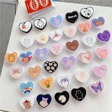 Universal cute cartoon heart-shaped foldable phone ring mobile