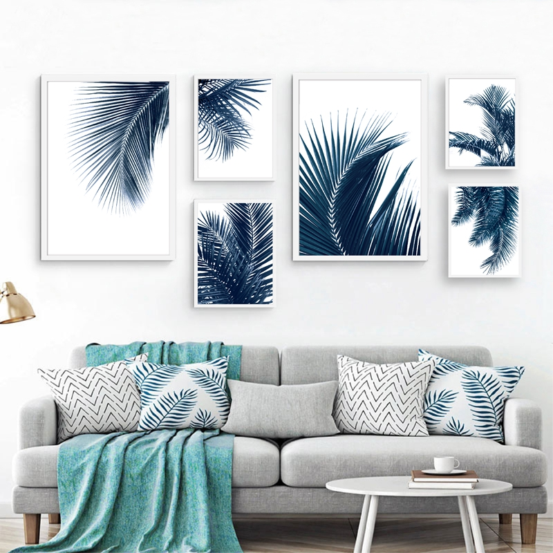 Navy Blue Wall Art Palm Leaves Canvas Painting Home Decor