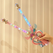 LED Glowing Sword Magic Wand Princess Glow Musical Sticks Luminous Toys Girls Pretend Fairy Action Figure Props Birthday Gifts