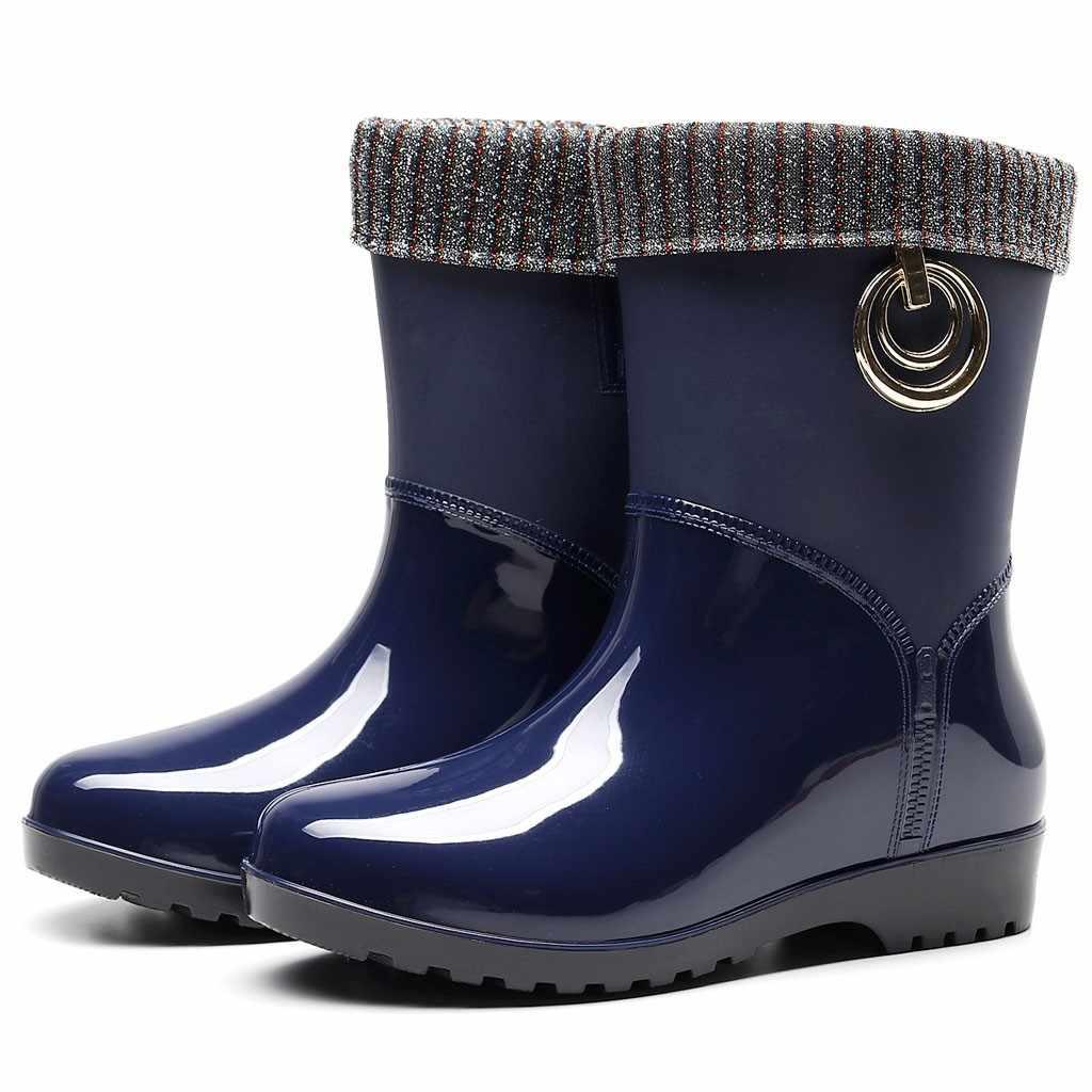 Punk tarzı orta buzağı yağmur çizmeleri kadın kauçuk kış sıcak kar botları kadın kaymaz yağmur çizmeleri açık su ayakkabısı zapatos De