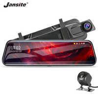 Jansite 10 pouces écran tactile 1080P voiture DVR flux médias Dash caméra double lentille enregistreur vidéo rétroviseur 1080p caméra de sauvegarde