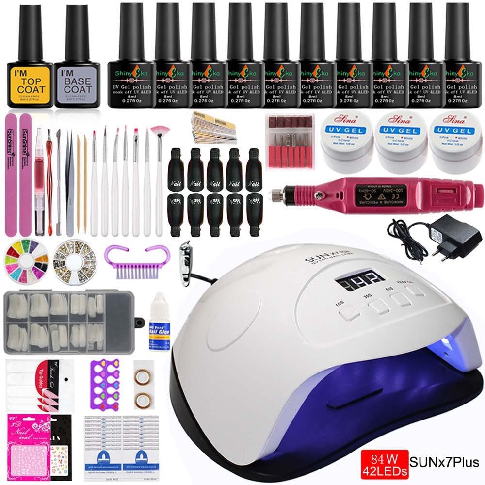 Manicure Set Nail Kit Electric Manicure Handle Acrylic Nail Set 36w/54/84w Led Lamp for Nails Builder Gel 10 Polish Kit Manicure 1