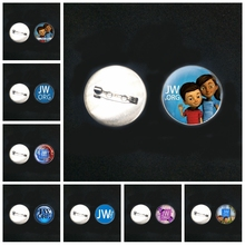 2019/ New Stainless Steel JW.ORG Father and Son Brooch Glass Convex Round Pin Male and Female Brooch Badge Gift