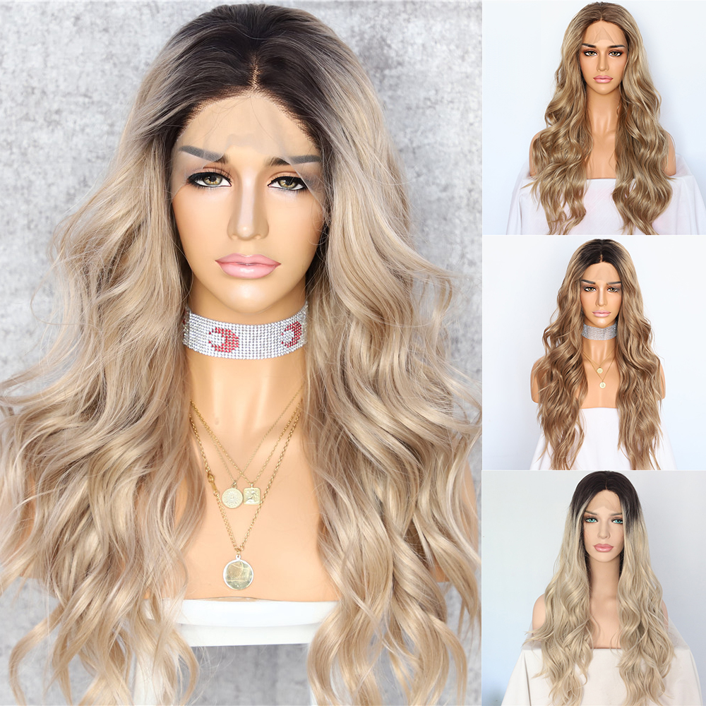 Lvcheryl Natural Long Synthetic Front Lace Wigs Dark Roots Ombre Blonde Wavy Type Heat Resistant Hair Wigs For Women