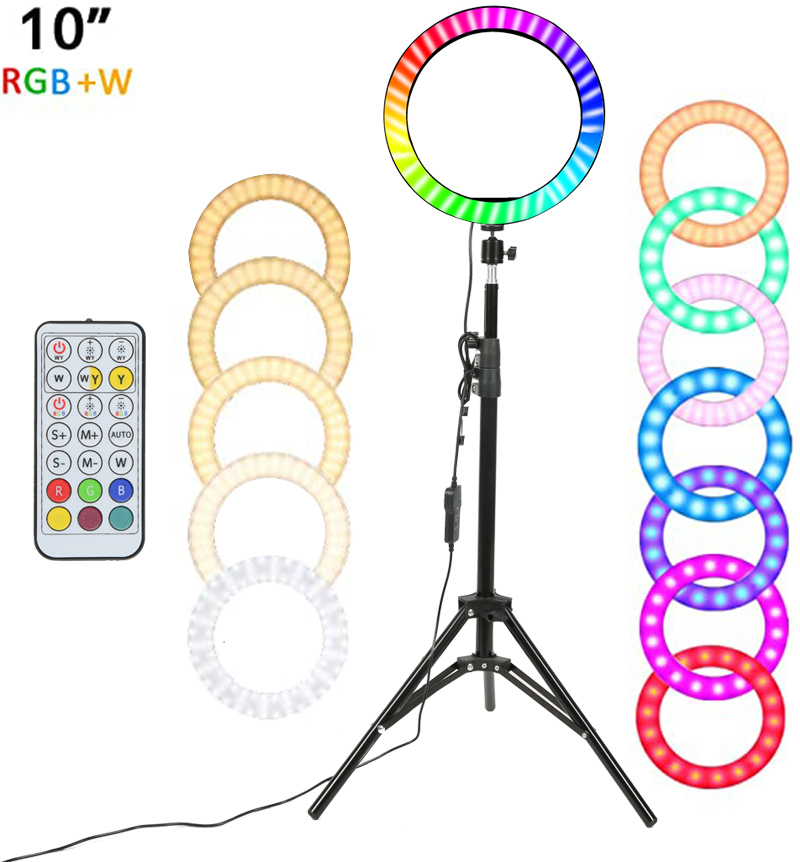 """10"""" RGB LED Ring Light Selfie Photographic Lighting Colorful Ring Lamp Dimmable with Control Stand for TikTok Youtube Vlog Live