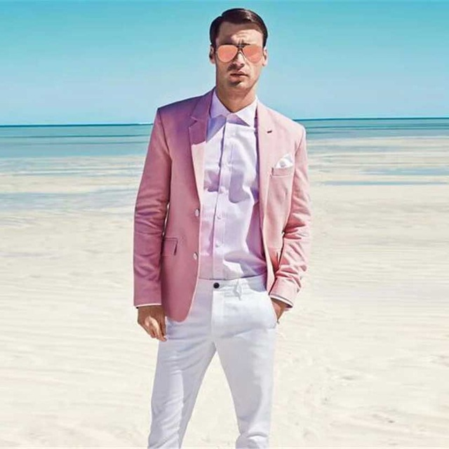 Linen Men Suits Summer Beach Wedding Groom Tuxedos Slim Fit 2 Pieces (Jacket+Pants) Bridegroom Suits Prom Wear Blazer