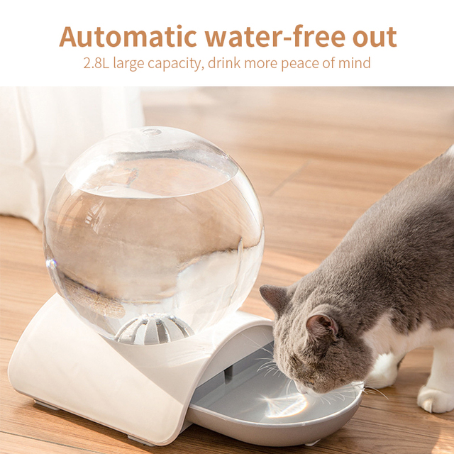 2.8L Pet Cat Bubble Automatic Water Feeder Fountain For Pets Water Dispenser Large Drinking Bowl Cat Drink No Electricity NEW 2