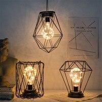Lámpara de mesa minimalista de arte del hierro Retro, linterna colgante alimentada por batería, luces nocturnas para dormitorio, luz de decoración de Navidad