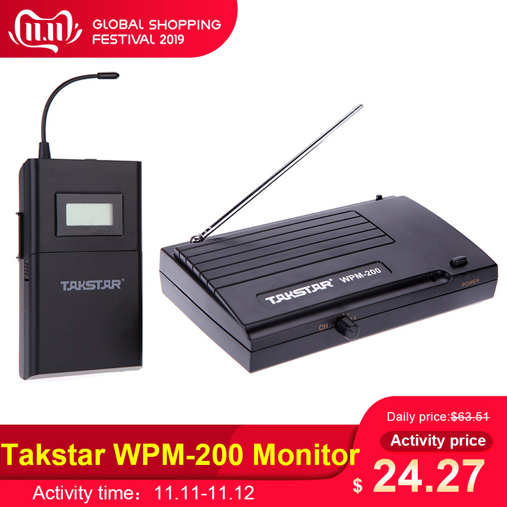 Takstar WPM-200 UHF Wireless Monitor System 50m Transmission Distance In-Ear Stereo Headphones Headset Transmitter Receiver