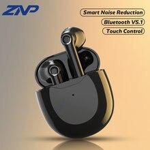 Znp tws bluetooth 5.1 fones de ouvido sem fio esportes à prova d9água 9d estéreo com microfone cancelamento ruído