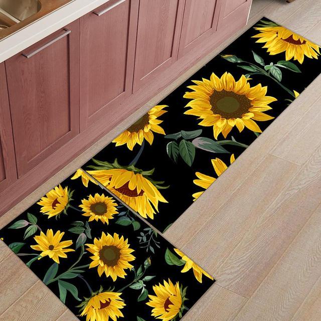 Line Sunflower Kitchen Mat Set Anti Slip Kitchen Mats For Floor Home Rugs Floor Mat In The Room Mat Aliexpress