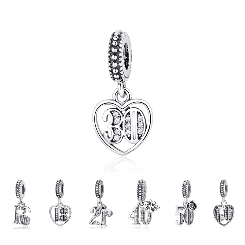 Original 100% 925 Sterling Silver Bead Charm 30 Years Of Love Pendant Charms Crystal Fit Women Pandora Bracelets DIY Jewelry