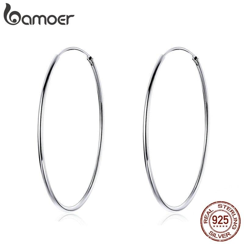 BAMOER 2019 Big Hoop Earrings for Women Sterling Silver 925 Jewelry Female Fashion Woman Earrings 39mm Fine Jewelry SCE598 1