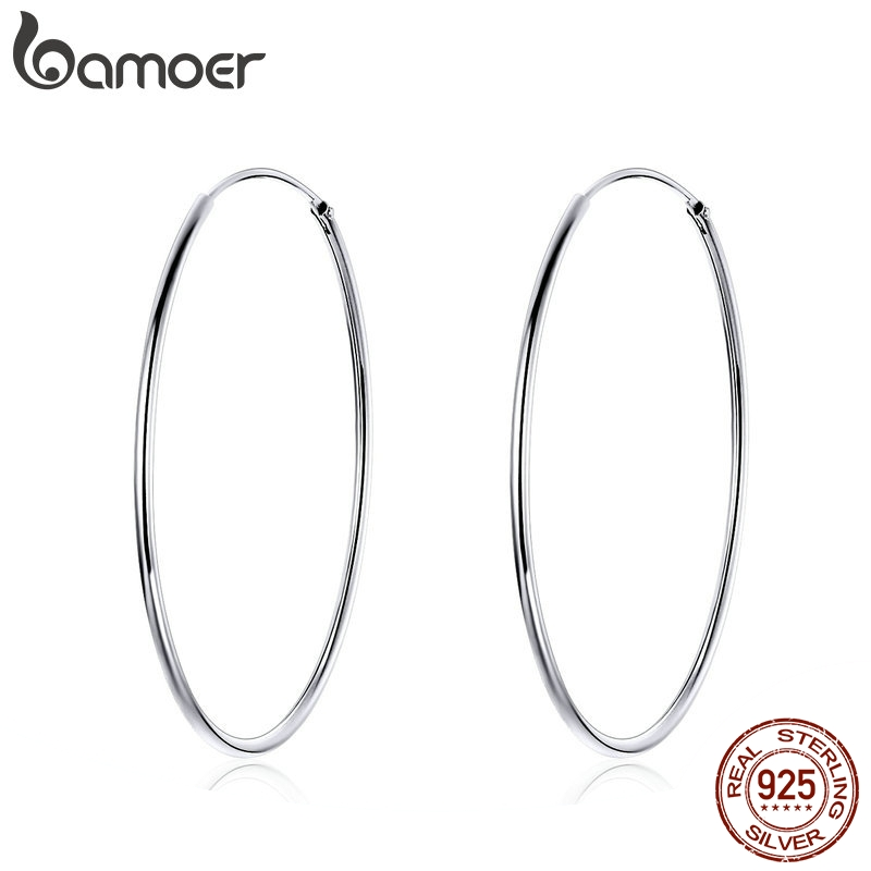 BAMOER 2019 Big Hoop Earrings For Women Sterling Silver 925 Jewelry Female Fashion Woman Earrings 39mm Fine Jewelry SCE598