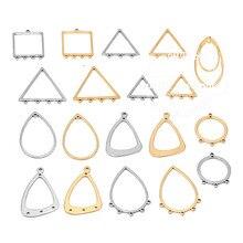 10 шт., золотые серьги из нержавеющей стали, соединители для каплевидных звеньев, сделай сам, Висячие проволочные компоненты для ушей