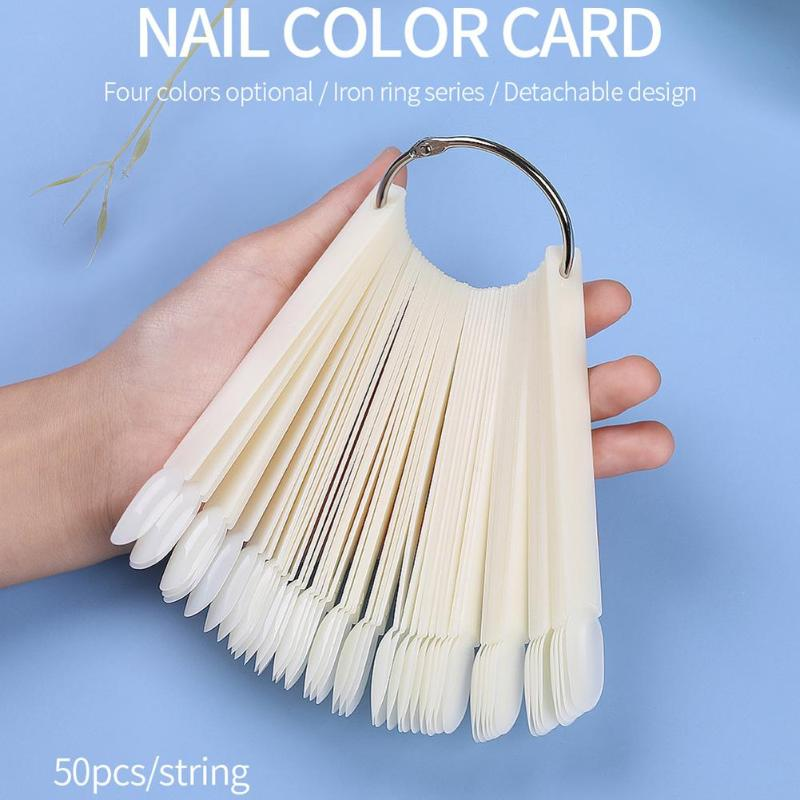 50pcs Iron Ring Fan Nail Color Card Oval False Nail Color Display Cards Manicure Tools