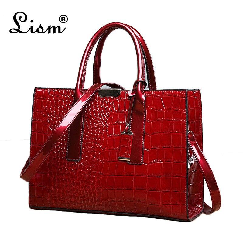 LISM Hot Sale! Lady PU Leather Shoulder Bag Elegant  Luxury OL Lady  Crocodile Lady Bag Handbag  Messager Bag  Fashion Bags