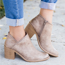 2019 New Classic Women Ankle Boots Autumn Winter Slip On Causal Platform Shoes Woman Flats Plus size 43