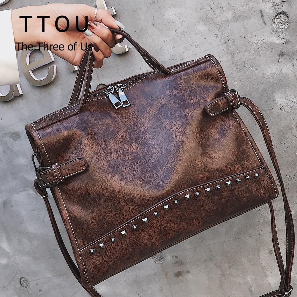 TTOU Rivet Vintage PU Leather Handbag Fashion Messenger Bag Women Shoulder Bag Larger Top-Handle Bags Travel Tote Bag Female