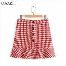 цена на 2019 Women Sweet Red Houndstooth Za Single Breasted Mini Skirts Female Fashion Hairy High Waist A-line Streetwear Skirt Femme