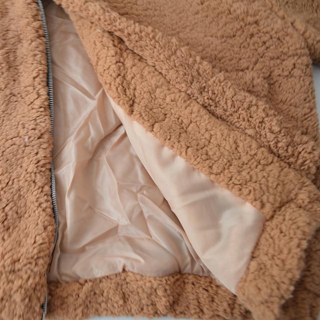 Fitaylor New Spring Women Teddy Bear Coat Stand Collar Loose Plush Jacket Zipper Solid Warm Outwear Faux Lamb Coats 5