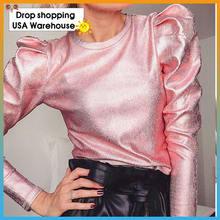 Женская новая популярная полосатая рубашка с пышными рукавами