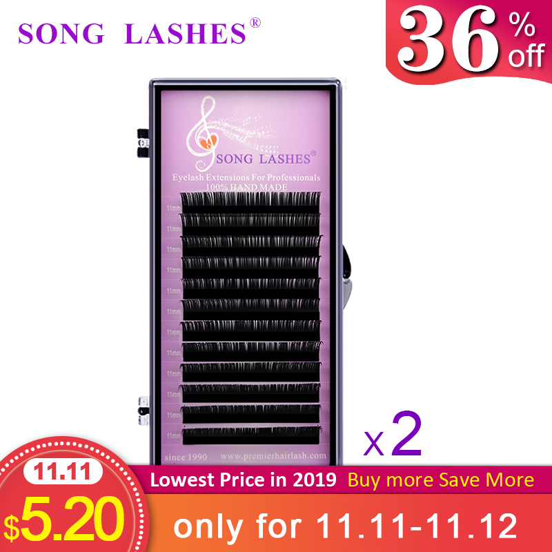 SONG LASHES  False Eyelash Extensions Soft Thin Tip  12 Rows C ,CC ,D Curl   All Thickness  2boxes Per Pack