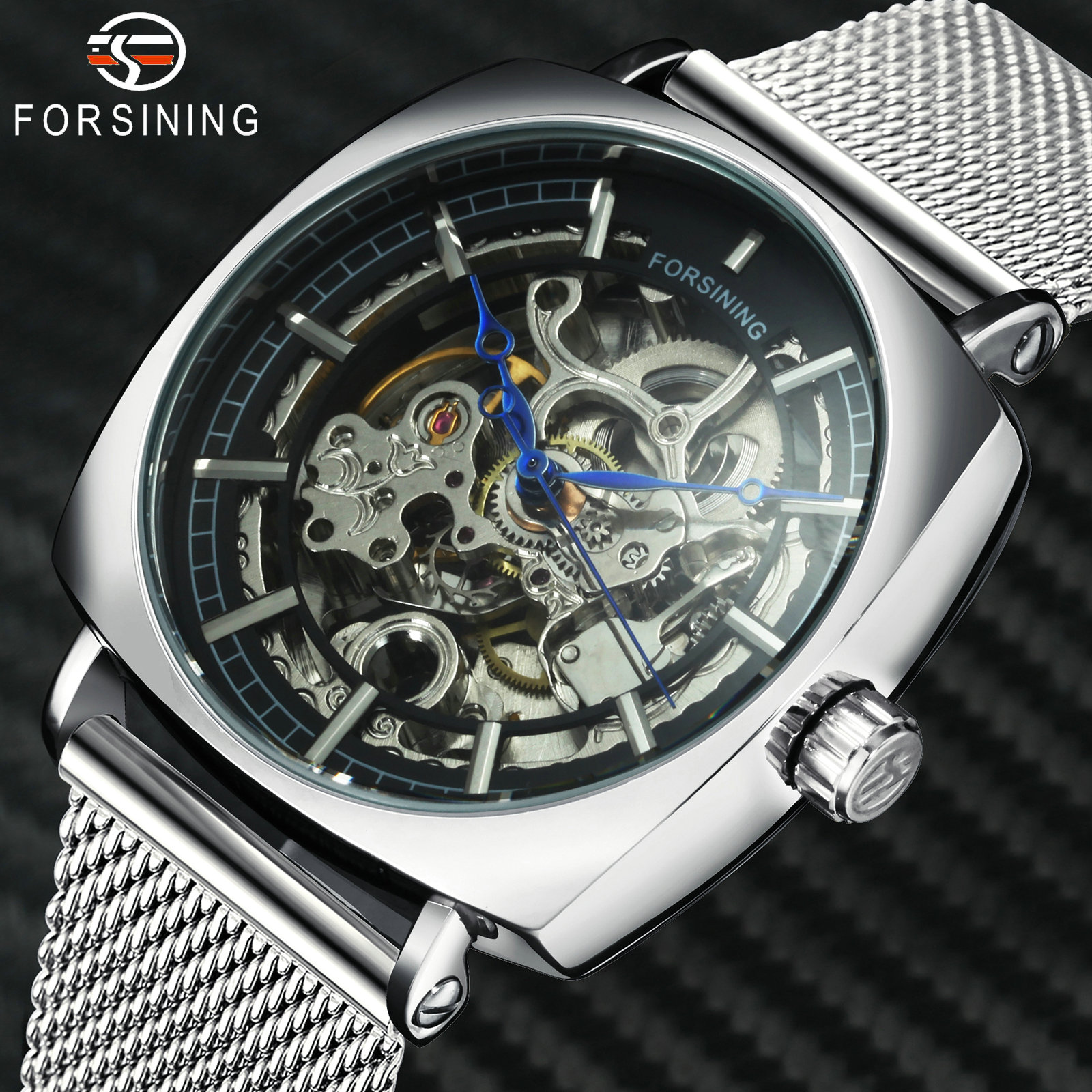 FORSINING Business Watch Men Top Brand Luxury Automatic Mechanical Watches Stainless Steel Mesh Strap Skeleton Carved Wristwatch