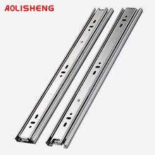 Aolisheng aço inoxidável gaveta slide ferroviário 8 24 Polegada rolamento de esferas três seções exposição completa