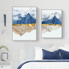 Abstract Poster Print Nordic Mountain Canvas Painting Wall Art Minimalist Blue Pictures For Living Room Decor