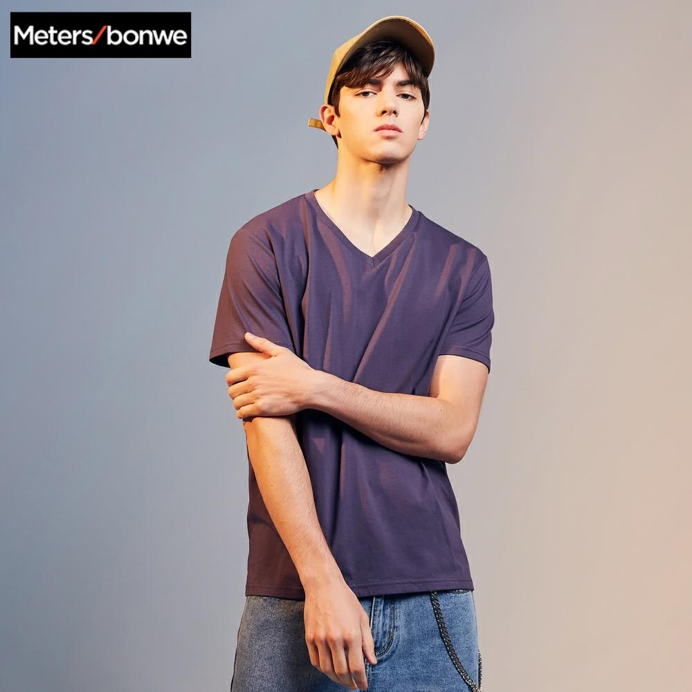 Metersbonwe 2020 Summer New Men T-Shirt For Male Solid Color Short Sleeve Cotton T-Shirt Casual Tops Comfort Shirt