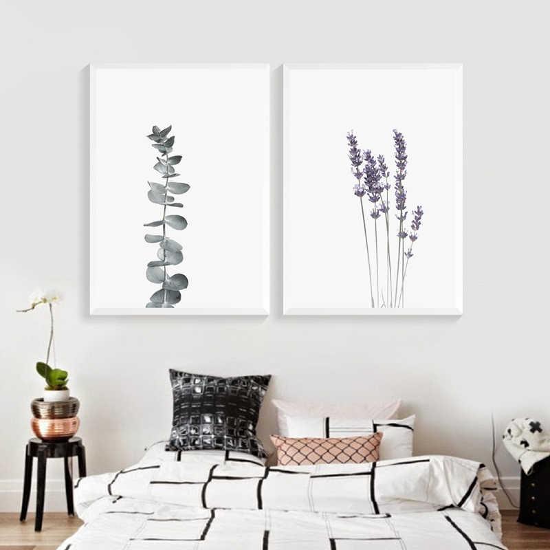 Impresión y póster de lienzo de lavanda de acuarela, pintura de lienzo botánico, decoración de granja, arte impresa en la pared de eucalipto