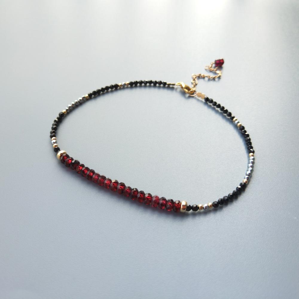 Lii Ji Genuine Red Garnet Black Spinel Hematite Sparkling Anklets US 9K GF Delicate Anklets For Women Girl Children  Jewelry