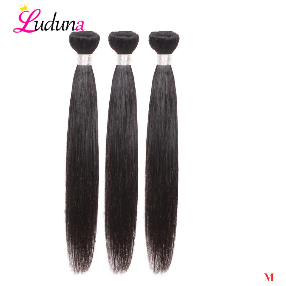 Luduna Hair Brazilian Straight Bundles 100% Human Hair Non-Remy Hair Weave 1/3/ 4 Bundles Deal Natural Color Hair Extensions