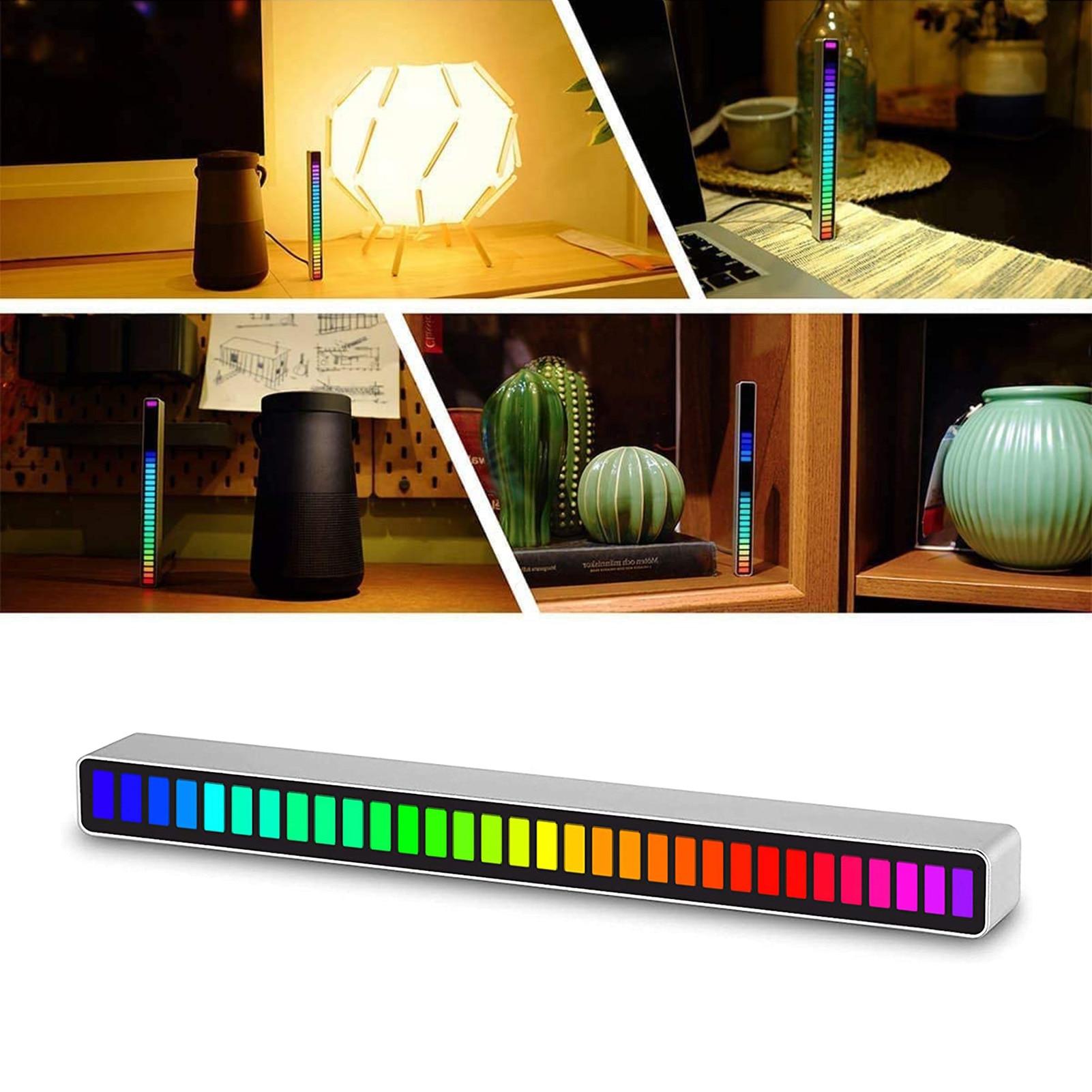 32 Bit Music Level Indicator Aluminum Bar Voice Sound Control Audio Spectrum RGB Light LED Display Rhythm Pulse Colorful Signal