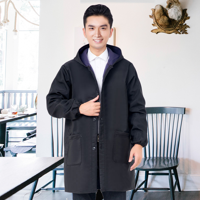 New Style Winter Plus Velvet Waterproof Smock Adults Protective Clothing Men And Women Long Sleeve Kitchen Apron Oil Resistant C