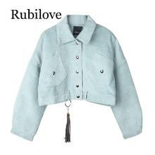 Rubilove women corduroy jacket pocket winter autumn outerwear button tassel black gray blue