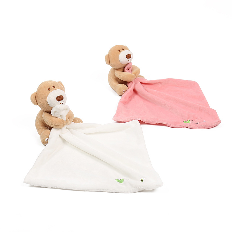 Pudcoco Cute Infant Baby Nursery Soft Smooth Bath Security Cute Bear Toy Blanket