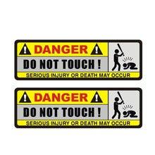 2x perigo carro adesivo engraçado não toque acessórios decorativos protetor solar criativo pvc impermeável, 16cm * 5cm