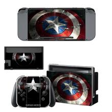 Captain America Vinyl Skin for Nintendo Switch, Full Set Protector Wrap Stickers Protective Faceplate Console Joy-Con Dock