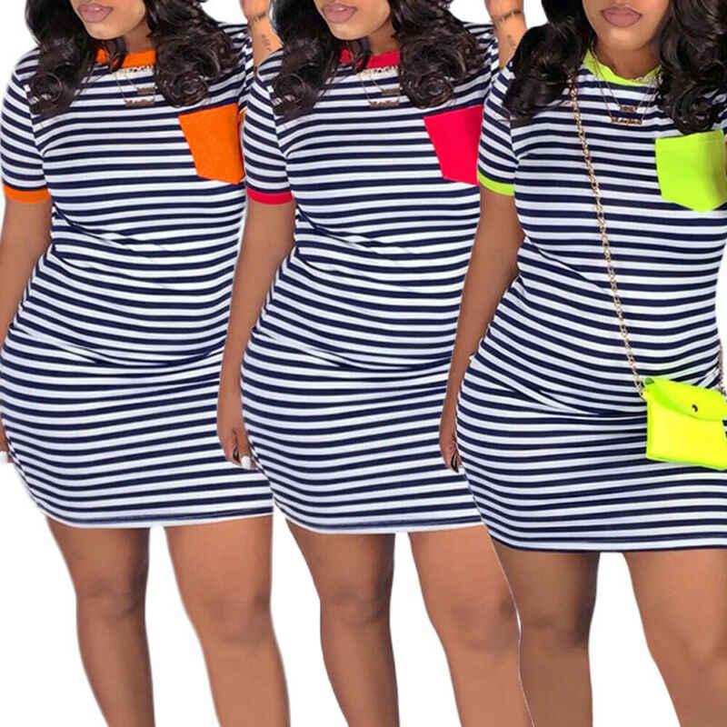 2019 sommer Casual Frauen O Hals Streifen Baggy Bodycon Mini Kleid Damen Freizeit Kurzarm Streifen Urlaub Paket Hüfte Kleider