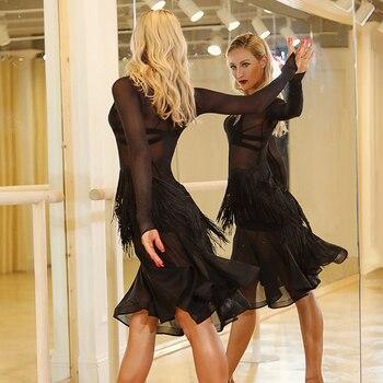 Latin Dance Costumes Female Long Sleeve Black Fringe Practice Clothing Latin Competition Dresses Tango/Samba Dancewear DQL988